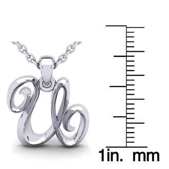 U Swirly Initial Necklace In Heavy 14K White Gold With Free 18 Inch Cable Chain