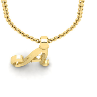A Swirly Initial Necklace In Heavy 14K Yellow Gold With Free 18 Inch Cable Chain