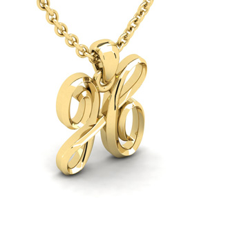 H Swirly Initial Necklace In Heavy 14K Yellow Gold With Free 18 Inch Cable Chain