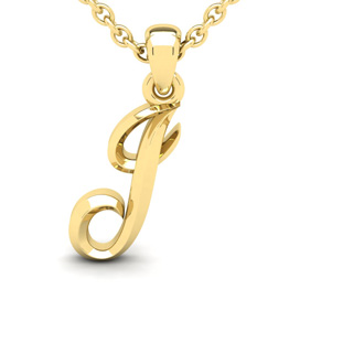 J Swirly Initial Necklace In Heavy 14K Yellow Gold With Free 18 Inch Cable Chain