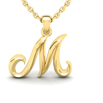 M Swirly Initial Necklace In Heavy 14K Yellow Gold With Free 18 Inch Cable Chain