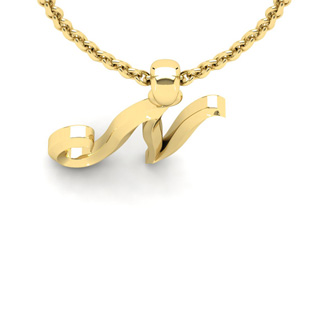 N Swirly Initial Necklace In Heavy 14K Yellow Gold With Free 18 Inch Cable Chain