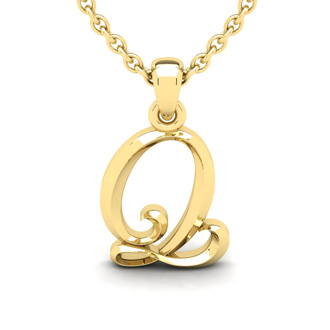 Q Swirly Initial Necklace In Heavy 14K Yellow Gold With Free 18 Inch Cable Chain