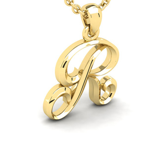 R Swirly Initial Necklace In Heavy 14K Yellow Gold With Free 18 Inch Cable Chain