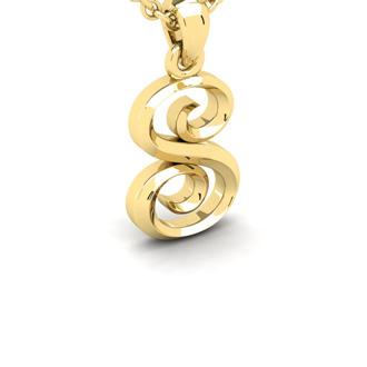 S Swirly Initial Necklace In Heavy 14K Yellow Gold With Free 18 Inch Cable Chain