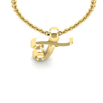 T Swirly Initial Necklace In Heavy 14K Yellow Gold With Free 18 Inch Cable Chain