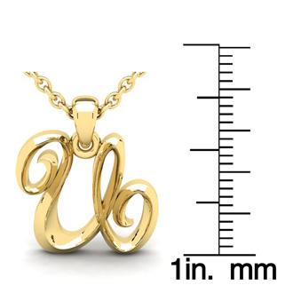 U Swirly Initial Necklace In Heavy 14K Yellow Gold With Free 18 Inch Cable Chain