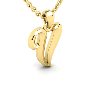 V Swirly Initial Necklace In Heavy 14K Yellow Gold With Free 18 Inch Cable Chain