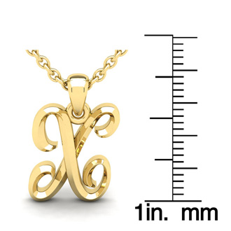 X Swirly Initial Necklace In Heavy 14K Yellow Gold With Free 18 Inch Cable Chain