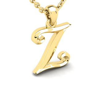 Z Swirly Initial Necklace In Heavy 14K Yellow Gold With Free 18 Inch Cable Chain