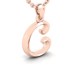 C Swirly Initial Necklace In Heavy 14K Rose Gold With Free 18 Inch Cable Chain