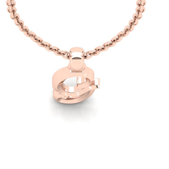 G Swirly Initial Necklace In Heavy 14K Rose Gold With Free 18 Inch Cable Chain