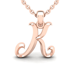 K Swirly Initial Necklace In Heavy 14K Rose Gold With Free 18 Inch Cable Chain