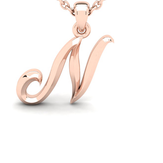 N Swirly Initial Necklace In Heavy 14K Rose Gold With Free 18 Inch Cable Chain