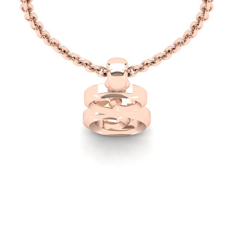 S Swirly Initial Necklace In Heavy 14K Rose Gold With Free 18 Inch Cable Chain