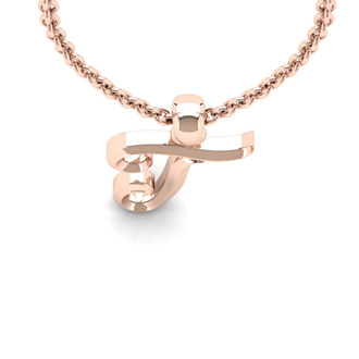 T Swirly Initial Necklace In Heavy 14K Rose Gold With Free 18 Inch Cable Chain