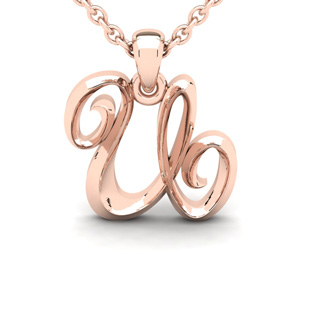 U Swirly Initial Necklace In Heavy 14K Rose Gold With Free 18 Inch Cable Chain