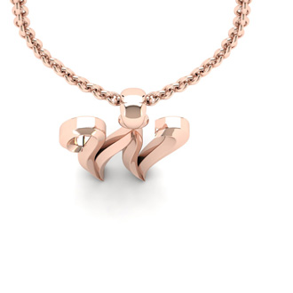 W Swirly Initial Necklace In Heavy 14K Rose Gold With Free 18 Inch Cable Chain