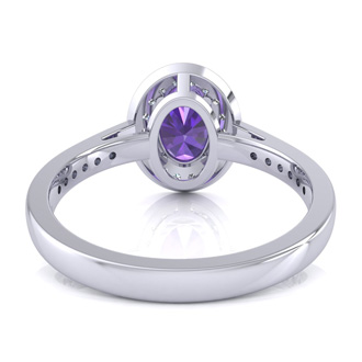 1 1/3 Carat Oval Shape Amethyst and Halo Diamond Ring In 14 Karat White Gold