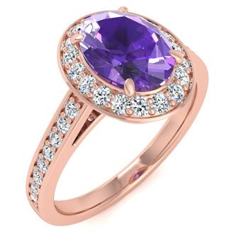 1 1/3 Carat Oval Shape Amethyst and Halo Diamond Ring In 14 Karat Rose Gold