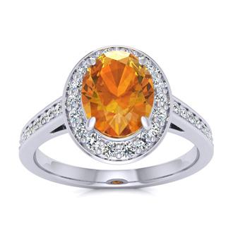 1 1/3 Carat Oval Shape Citrine and Halo Diamond Ring In 14 Karat White Gold