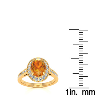 1 1/3 Carat Oval Shape Citrine and Halo Diamond Ring In 14 Karat Yellow Gold