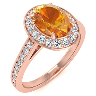 1 1/3 Carat Oval Shape Citrine and Halo Diamond Ring In 14 Karat Rose Gold