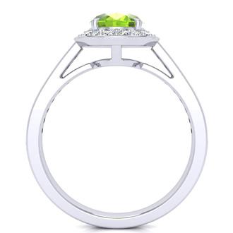 1 1/2 Carat Oval Shape Peridot and Halo Diamond Ring In 14 Karat White Gold