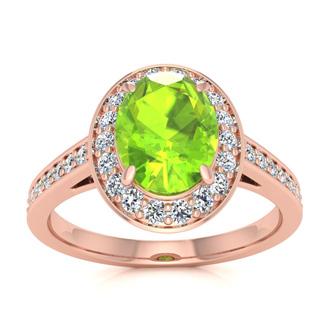 1 1/2 Carat Oval Shape Peridot and Halo Diamond Ring In 14 Karat Rose Gold