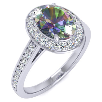1 3/4 Carat Oval Shape Mystic Topaz and Halo Diamond Ring In 14 Karat White Gold