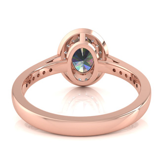 1 3/4 Carat Oval Shape Mystic Topaz and Halo Diamond Ring In 14 Karat Rose Gold