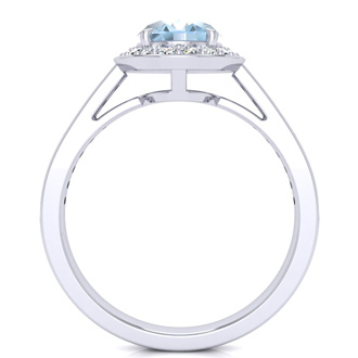 1 1/2 Carat Oval Shape Aquamarine and Halo Diamond Ring In 14 Karat White Gold