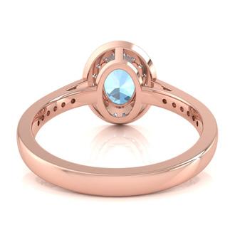 1 1/2 Carat Oval Shape Aquamarine and Halo Diamond Ring In 14 Karat Rose Gold