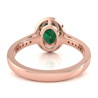 1 1/2 Carat Oval Shape Emerald and Halo Diamond Ring In 14 Karat Rose Gold