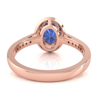 1 1/2 Carat Oval Shape Tanzanite and Halo Diamond Ring In 14 Karat Rose Gold