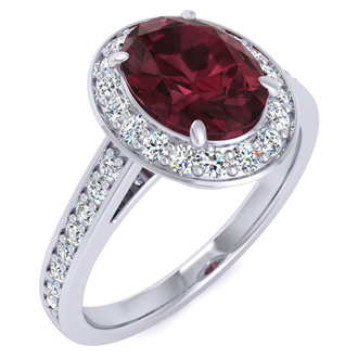 1 3/4 Carat Oval Shape Garnet and Halo Diamond Ring In 14 Karat White Gold