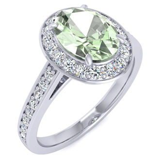 1 1/3 Carat Oval Shape Green Amethyst and Halo Diamond Ring In 14 Karat White Gold