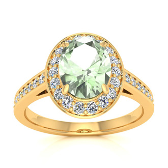 1 1/3 Carat Oval Shape Green Amethyst and Halo Diamond Ring In 14 Karat Yellow Gold