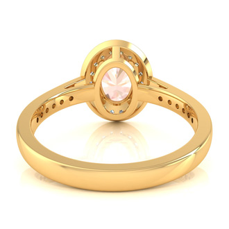1 1/2 Carat Oval Shape Morganite and Halo Diamond Ring In 14 Karat Yellow Gold