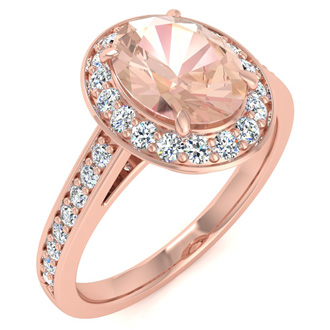 1 1/2 Carat Oval Shape Morganite and Halo Diamond Ring In 14 Karat Rose Gold