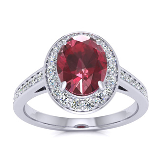 1 3/4 Carat Oval Shape Ruby and Halo Diamond Ring In 14 Karat White Gold