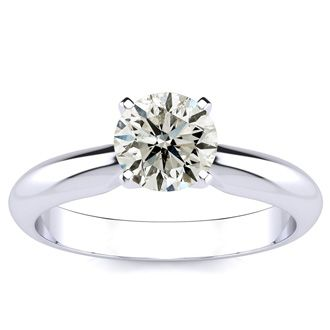 1ct Round Diamond Solitaire Ring in 14k White Gold. Incredible Value For A 1 Carat Natual, Earth-Mined Diamond Solitaire Ring