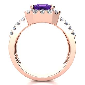 3 Carat Amethyst and Halo Diamond Ring In 14 Karat Rose Gold