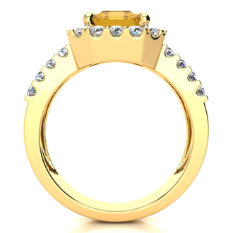 3 Carat Citrine and Halo Diamond Ring In 14 Karat Yellow Gold