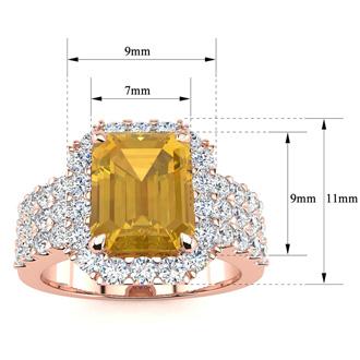 3 Carat Citrine and Halo Diamond Ring In 14 Karat Rose Gold