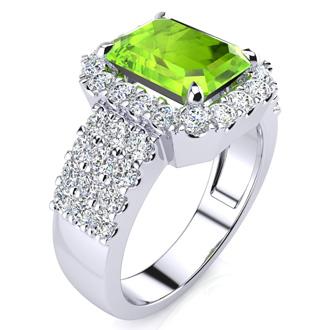 3 1/2 Carat Peridot and Halo Diamond Ring In 14 Karat White Gold