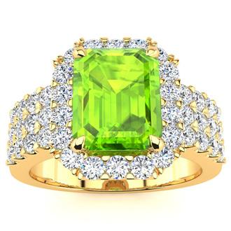 3 1/2 Carat Peridot and Halo Diamond Ring In 14 Karat Yellow Gold