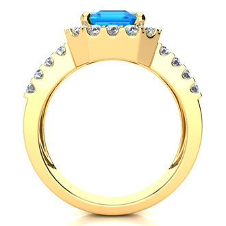 3 3/4 Carat Blue Topaz and Halo Diamond Ring In 14 Karat Yellow Gold