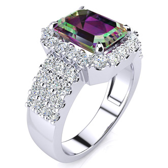 3 Carat Mystic Topaz and Halo Diamond Ring In 14 Karat White Gold