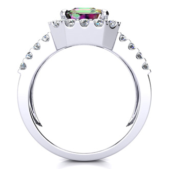 3 Carat Mystic Topaz and Halo Diamond Ring In 14 Karat White Gold